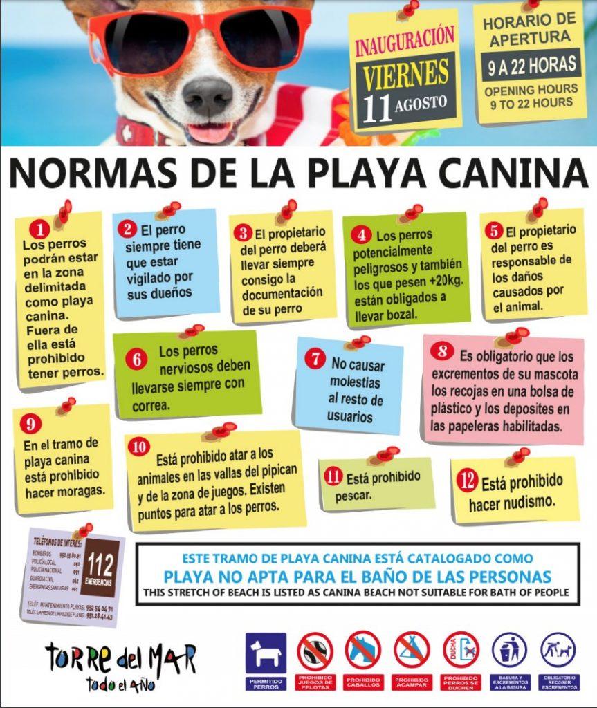 normas de la playa canina de Torre del Mar