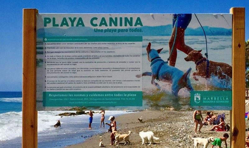 Catel informativo de la Playa canina de Ventura de Mar en Marbella