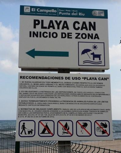 Cartel de la playa para perros de Campello