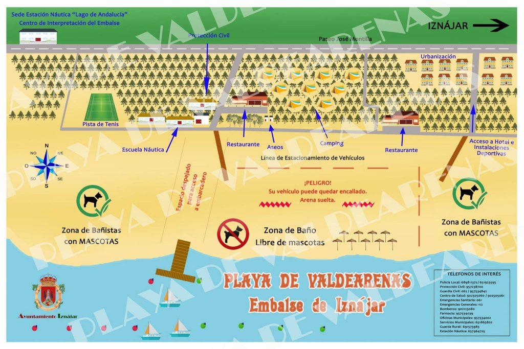 Cartel de la playa para perros de Iznájar Córdoba