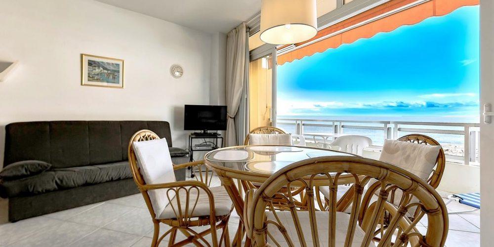 Foto de las vistas al mar desde el salón y la terraza en este apartamento que admite perros GRATIS