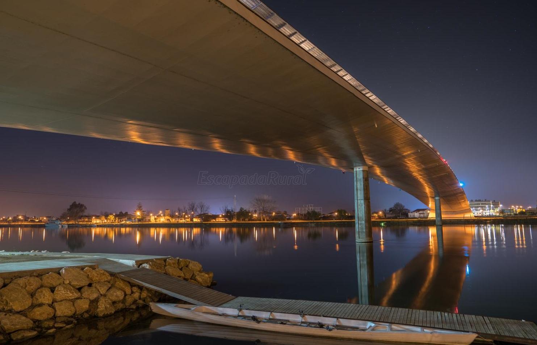 Foto con Deltebre al fondo en plena noche bajo el puente