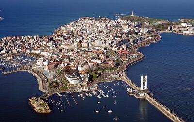 Foto desde el cielo de la ciudad de A Coruña
