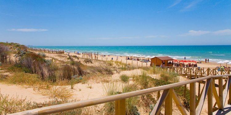 Foto de la pasarela de entrada a la playa en Guardamar del Segura