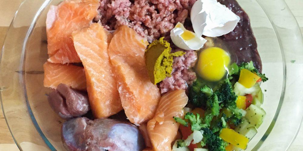 Ingredientes tIpicos de una receta de la dieta BARF